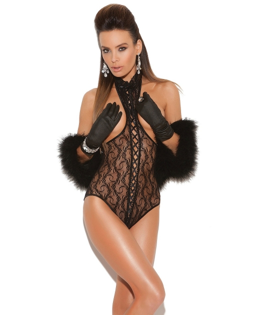 Vivace Lace Cupless Teddy w/Lace Up Front & Open Back Black O/S