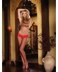 Stretch Lace Low Rise Cheeky Hiphugger Panty w/Scalloped Lace & Satin Bow Trim Red LG