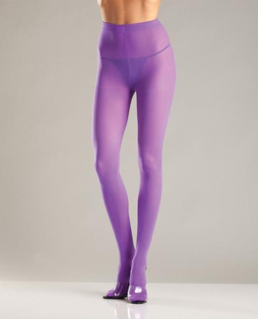 Opaque Nylon Pantyhose Purple O/S