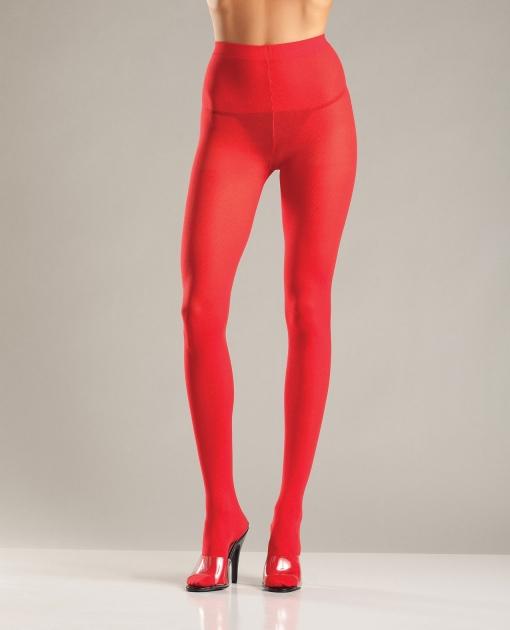 Opaque Nylon Pantyhose Red O/S