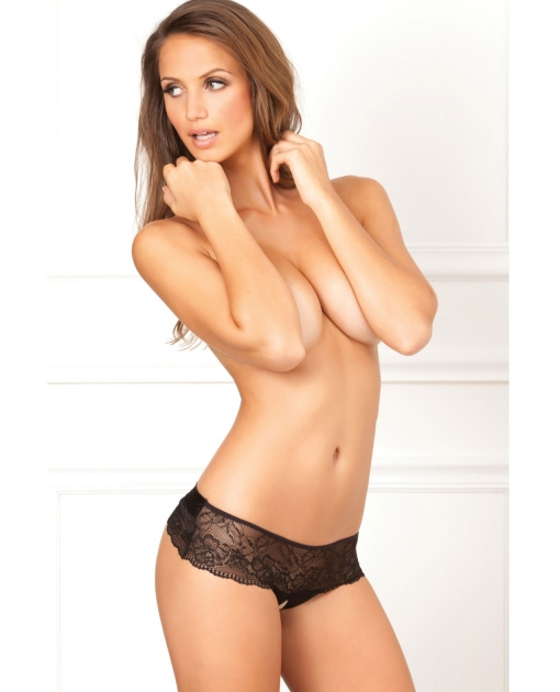 Rene Rofe Crotchless Lace Bow Back Panty Black M/L