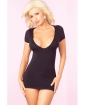 Pink Lipstick Slinky Seamless Mini Dress w/Super Sexy Back Slits Black S/M