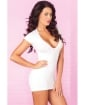 Pink Lipstick Slinky Seamless Mini Dress w/Super Sexy Back Slits (Black Light) White S/M