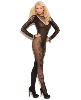 Vivace Fishnet Long Sleeve Sheer Jacquard Bodystocking Black O/S