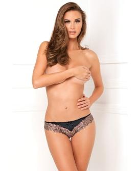 Rene Rofe Crotchless Open Leopard Lace Panty Black S/M