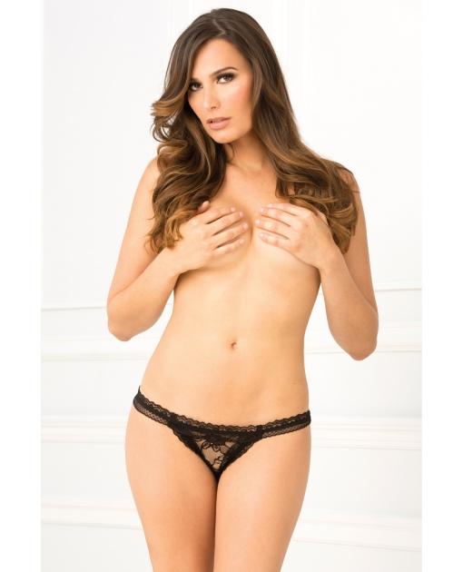Rene Rofe Crotchless Lace Panty Black M/L