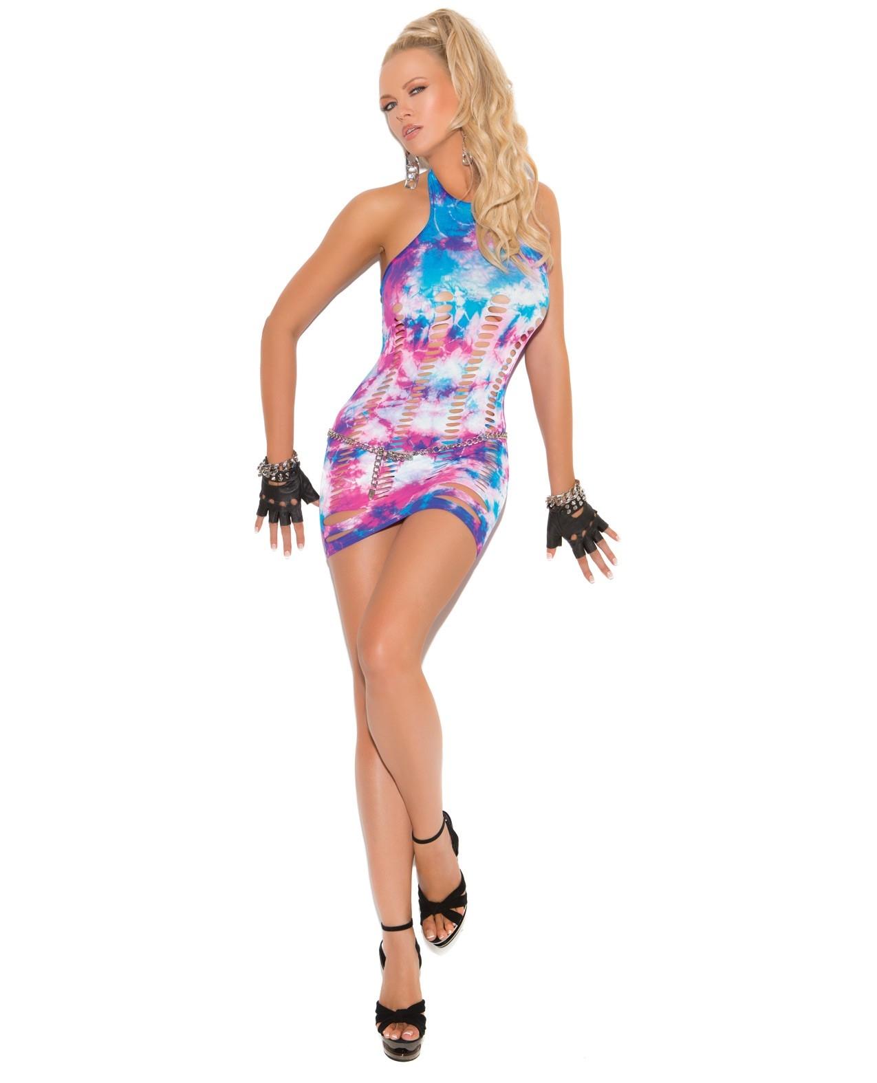 Vivace Neon Tie Dye Mini Dress w/Pothole Detail Multi Color O/S