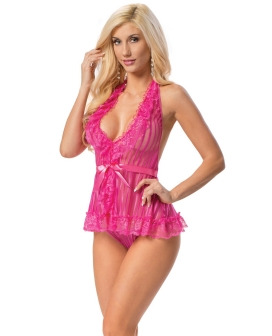 Halter Ribbon Tie Chemise Racy Pink O/S