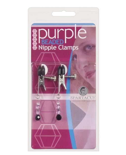 Adjustable Broad Tip Nipple Clamps w/Purple Beads