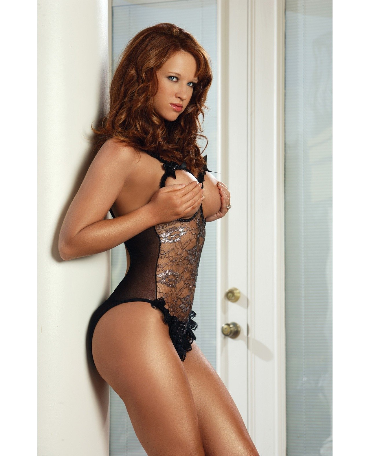 Erotic Body Open Bra & Crotch Teddy w/Silver Pattern Black O/S