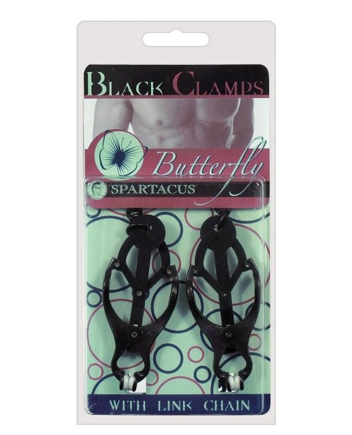 Black Butterfly Style Nipple Clamps w/Chain