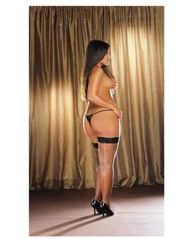 Stay Up Fishnet Thigh Highs w/Back Seam (Thong Not Included) Black QN