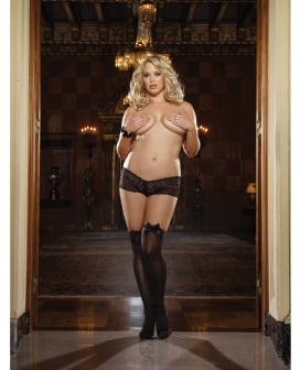 Opaque Thigh Highs w/Satin Bow Black QN