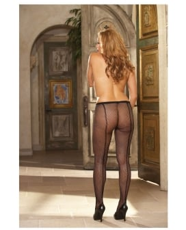 Fishnet Pantyhose w/Back Seam Black QN