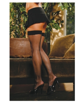 Fishnet Thigh Highs w/back Seam Black QN