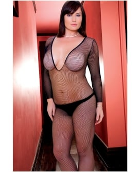 Rene Rofe Deep V Long Sleeve Fishnet Bodystocking Black QN
