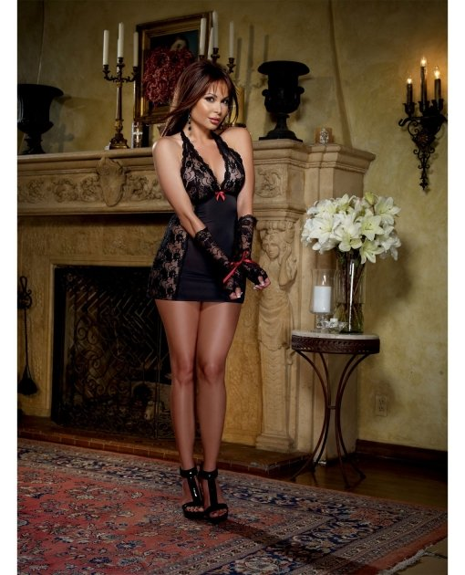 Microfiber Halter Chemise w/Stretch Lace - Thong & Fingerless Glove Restraints Black QN
