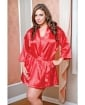 Satin 3/4 Sleeve Robe w/Matching Sash Red 3X/4X