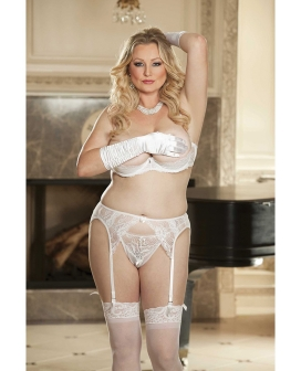 Lace & Stretch Mesh Garterbelt White 3X/4X