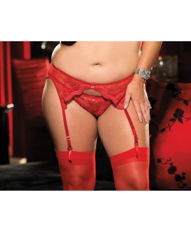 Scalloped Embroidery Garterbelt w/Adjustable Front & Back Garters Red 3X/4X