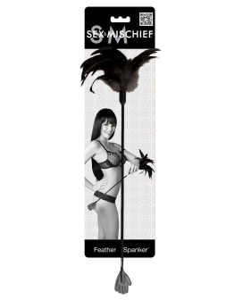 Sex & Mischief Feather Hand Spanker - Black Feathers