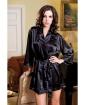 Satin 3/4 Sleeve Robe w/Matching Sash Black L/XL