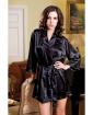 Satin 3/4 Sleeve Robe w/Matching Sash Black S/M