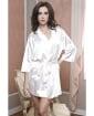 Satin 3/4 Sleeve Robe w/Matching Sash White S/M