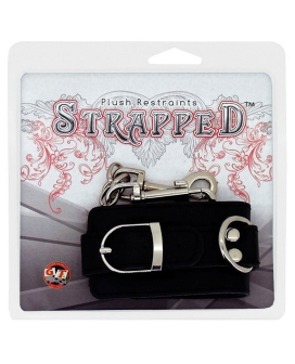 Strapped Plush Restraints Fur Lined Leather Cuffs - Black