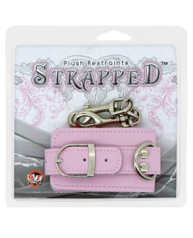 Strapped Plush Restraints Fur Lined Leather Cuffs - Pink