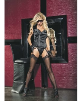 Stretch Satin Zipper Front Corset w/Removable Garters & G-String Black 38