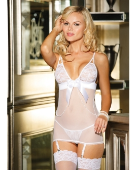 Stretch Lace & Mesh Chemise w/Adjustable Straps & Garters & G-String White LG