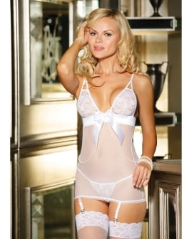 Stretch Lace & Mesh Chemise w/Adjustable Straps & Garters & G-String White XL
