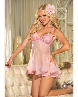 Lace & Net Babydoll w/Adjustable Straps & G-String Pink SM