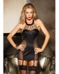 Satin & Fishnet Chemise w/Strappy Front Detail - Removable Garters & G-String Black SM
