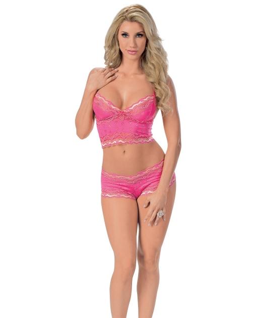 Lace Cami Top w/Adjustable Straps & Boy Short Fuchsia SM
