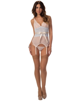 Sheer & Lace Bustier w/Thigh Highs Ivory/Sweet Blue LG
