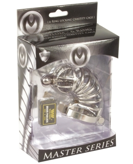 Master Series 6 Ring Locking Chastity Cage