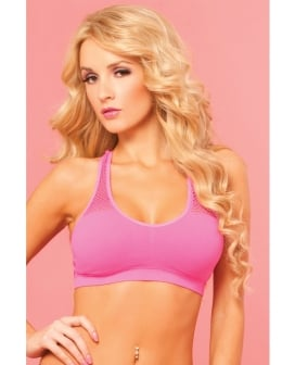 Pink Lipstick Sweat Sporty Breathable Mesh Offers Cooling Support w/Removable Pads Pink M/L