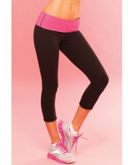Pink Lipstick Sweat Yoga Short Thick Revrsible for Supprt & Compression w/Scret Pcket Black MD
