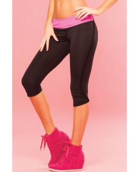 Pink Lipstick Sweat Fitness Pant Ruffle Fringe Side w/Secret Pocket Black MD