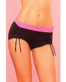 Pink Lipstick Sweat Fitness Cinchable Hot Short Black SM