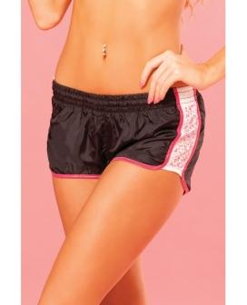 Pink Lipstick Sweat Sequin Running Short w/Built in Panty & Draw String Closure Black LG
