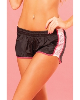 Pink Lipstick Sweat Sequin Running Short w/Built in Panty & Draw String Closure Black SM