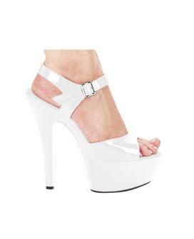 """Ellie Shoes Juliet 6"""" Pump w/2"""" Platform White Seven"""