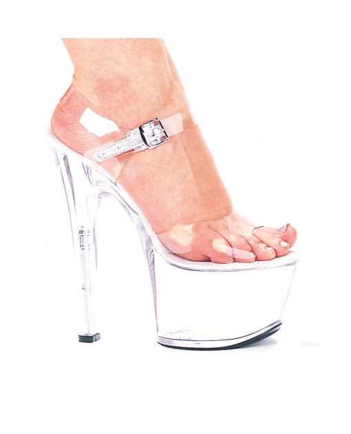 "Ellie Shoes Flirt 7"" Pump 3"" Platform Clear Ten"