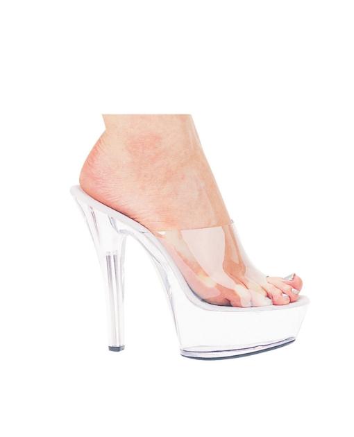 """Ellie Shoes Vanity 6"""" Pump 2"""" Platform Clear Nine"""