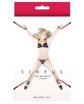 NS Novelties Sinful Bed Restraint Straps - Pink