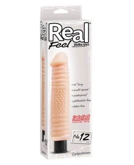 "Real Feel No. 12  Long 10"" Waterproof Vibe - Flesh Multi Speed"