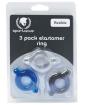Spartacus Elastomer Cock Ring Set - Black, Blue & Clear Pack of 3